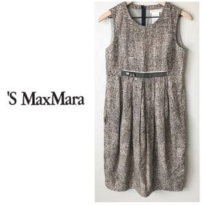 S' Max Mara brown patterned sleeveless dress Sz 6